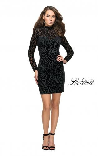 Picture of: Velvet Black Homecoming Dress with Burnout Detail, Style: 26631, Detail Picture 2