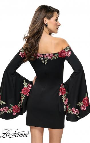 Picture of: Off the Shoulder Mini Dress with Dramatic Bell Sleeves, Style: 26674, Detail Picture 2