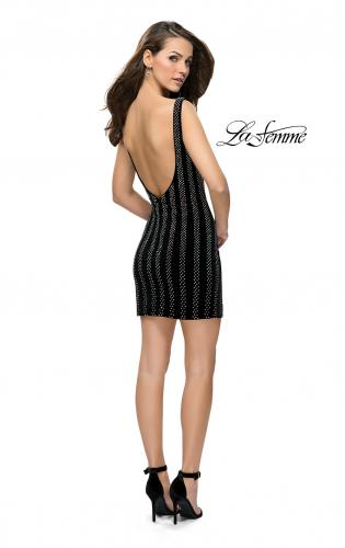 Picture of: Low Scoop Back Short Velvet Dress with Rhinestones, Style: 26687, Detail Picture 2