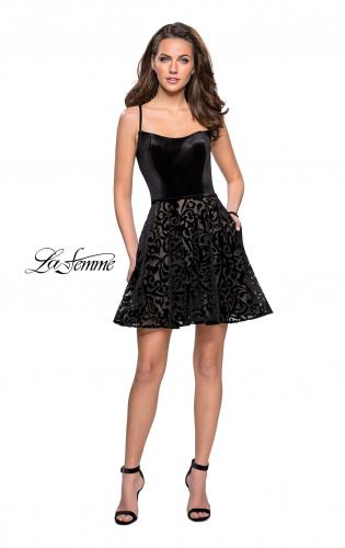 Picture of: Short Burnout Velvet Homecoming Dress with Pockets, Style: 26785, Detail Picture 2