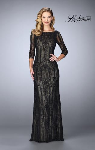 Picture of: Long Lace Gown With Intricate Pattern, Style: 24855, Main Picture