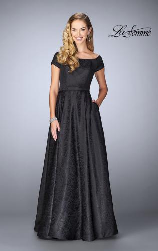 Picture of: Off The Shoulder Jacquard Gown With Small Sleeves, Style: 24859, Main Picture