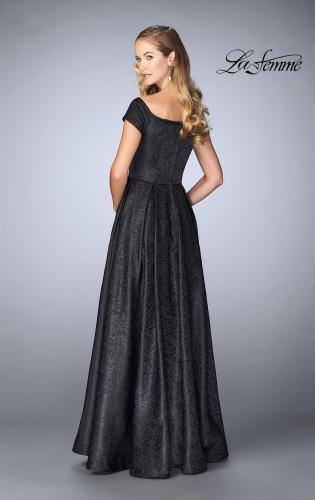 Picture of: Off The Shoulder Jacquard Gown With Small Sleeves, Style: 24859, Back Picture
