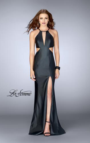 Picture of: Vegan Leather Dress with Side Cut Outs and High Slit, Style: 24739, Main Picture