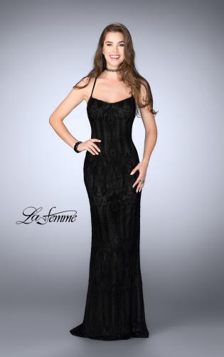 Picture of: Patterned Lace Prom Gown with Thin Straps, Style: 24740, Main Picture