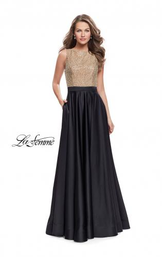 Picture of: Long A Line Dress with Beaded Top and Cut Outs, Style: 25362, Main Picture
