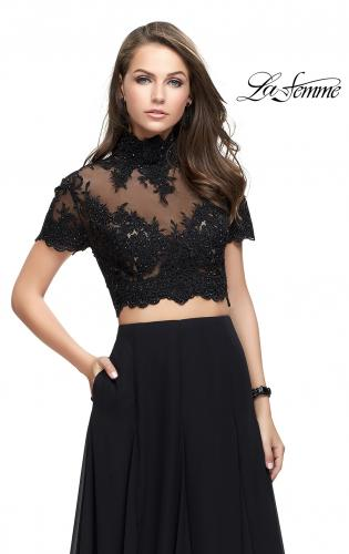 Picture of: Two Piece Dress with Beaded Lace Top and Sheer Back, Style: 25401, Main Picture
