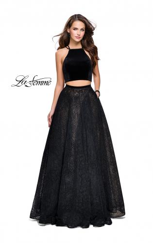 Picture of: Two Piece Long Ball Gown with Velvet Top and Open Back, Style: 25592, Main Picture