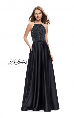 Picture of: Satin A-line Ball Gown Featuring Beading and a High Neck, Style: 25601, Main Picture