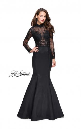Picture of: Long sleeve Mermaid Mikado Prom Dress with Beading, Style: 25677, Main Picture