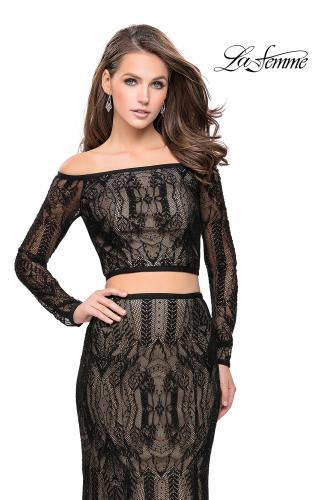 Picture of: Off The Shoulder Two Piece Dress with Long Sleeves, Style: 25983, Main Picture