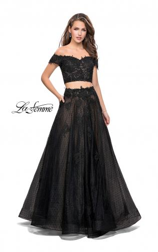 Picture of: Off the Shoulder Two Piece Gown with Polka Dot Print, Style: 26110, Main Picture