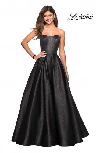 Satin Prom Gown with beaded Bust and Pockets. Picture of  Long Metallic Strapless  A Line Ball Gown 5548adace38c