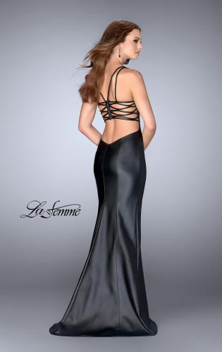 Picture of: Vegan Leather Gown with Strappy Back, Style: 24712, Back Picture