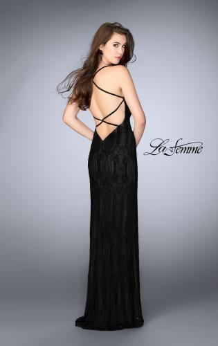 Picture of: Patterned Lace Prom Gown with Thin Straps, Style: 24740, Back Picture