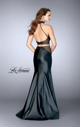 Picture of: Vegan Leather Two Piece Prom Dress and Open Back, Style: 24754, Back Picture