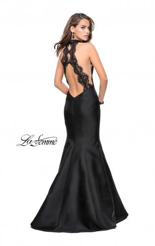 Picture of: Mermaid dress with sheer sides and open back, Style: 24778, Back Picture