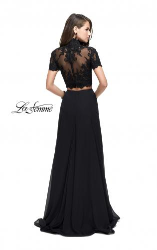 Picture of: Two Piece Dress with Beaded Lace Top and Sheer Back, Style: 25401, Back Picture