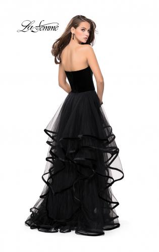 Picture of: Strapless Tulle Ball Gown with Velvet Detail, Style: 25461, Back Picture
