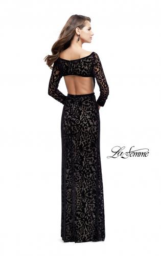 Picture of: Velvet Long Sleeve Prom Dress with Open Back and Deep V, Style: 25497, Back Picture