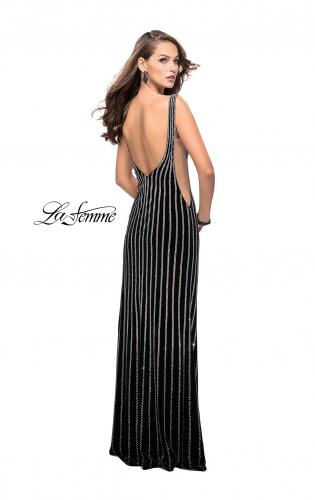 Picture of: Form Fitting Metallic Beaded Prom Dress with Cut Outs, Style: 25569, Back Picture