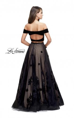Picture of: Two Piece Prom Dress with Velvet Top and Tulle Skirt, Style: 25574, Back Picture