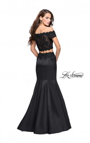 Picture of: Mikado Two Piece Prom Dress with Lace and Beading, Style: 25583, Back Picture