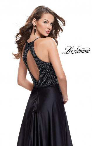 Picture of: Satin A-line Ball Gown Featuring Beading and a High Neck, Style: 25601, Back Picture
