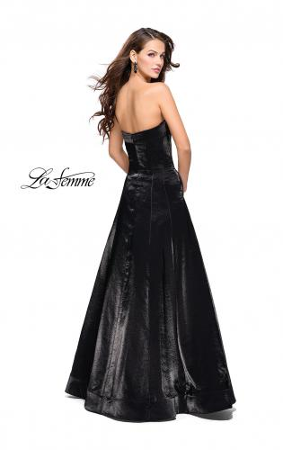 Picture of: Long Strapless Two-Tone Satin Ball Gown with Pockets, Style: 25638, Back Picture