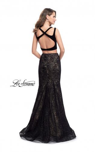 Picture of: Long Two Piece Prom Dress with Velvet Top, Style: 25772, Back Picture
