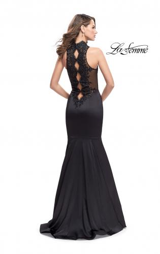 Picture of: Form Fitting Prom Dress with Denim Mermaid Skirt, Style: 25792, Back Picture