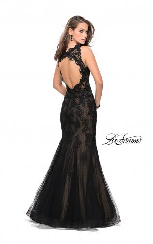 Picture of: Long Polka Dot Tulle Dress with Lace and Beading, Style: 25961, Back Picture