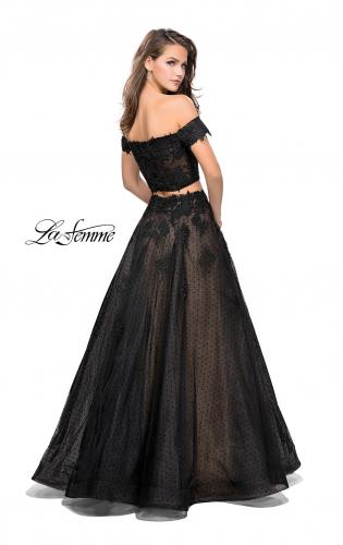 Picture of: Off the Shoulder Two Piece Gown with Polka Dot Print, Style: 26110, Back Picture