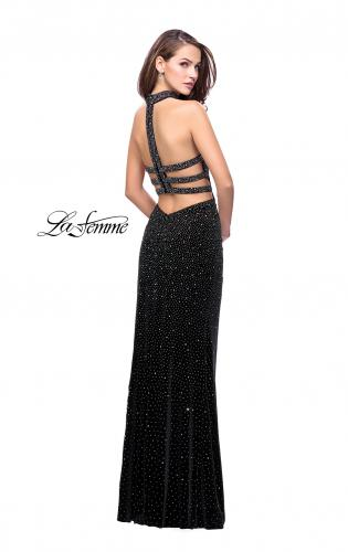 Picture of: Long Strapless Velvet Prom Gown with Cascading Beads, Style: 26239, Back Picture