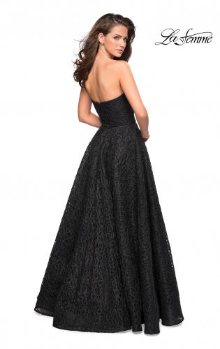 003b64ac84c ... Picture of  Strapless A Line Ball Gown with Metallic Embroidery