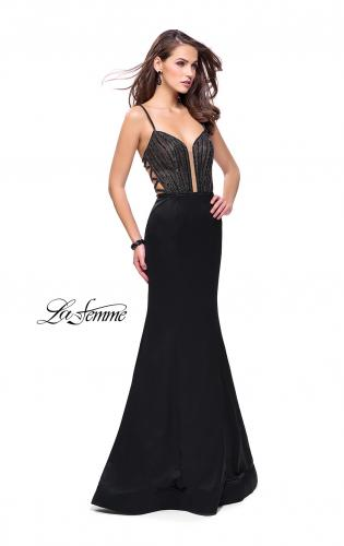 Picture of: Mermaid Prom Dress with Beaded Top and Strappy Back, Style: 24691, Detail Picture 1