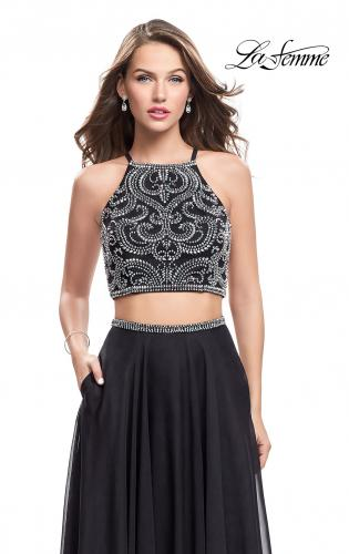 Picture of: Long Two Piece Dress with Beading and Strappy Back, Style: 25469, Detail Picture 1
