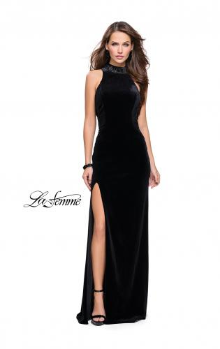 Picture of: Form Fitting Velvet Prom Dress with High Neckline, Style: 25559, Detail Picture 1