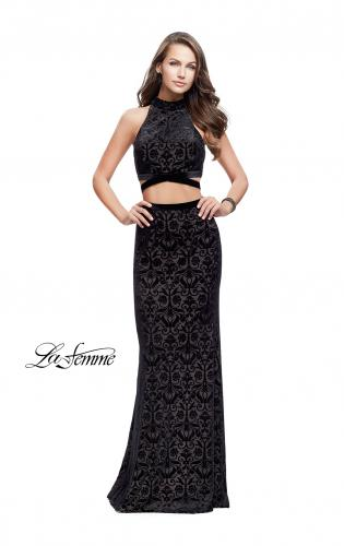 Picture of: Form Fitting Two Piece Prom Dress with Side Cut Outs, Style: 25589, Detail Picture 1
