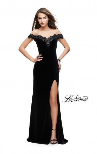 Picture of: Long Velvet Off the Shoulder Gown with Lace Detail, Style: 25591, Detail Picture 1
