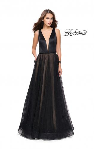 Picture of: A-line Prom Dress with Pearl Beading and a Tulle Skirt, Style: 25630, Detail Picture 1