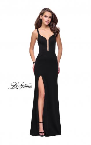 Picture of: Long Jersey Prom Dress with Caged Strappy Open Back, Style: 25720, Detail Picture 1