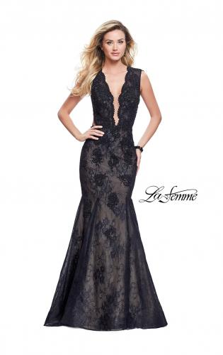 Picture of: Long Beaded Lace Mermaid Prom Dress with Open Back, Style: 26120, Detail Picture 1