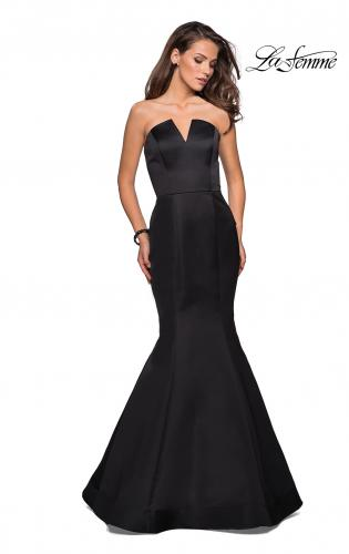 Picture of: Strapless V Prom Gown with Cascading Ruffle Back, Style: 27105, Detail Picture 1