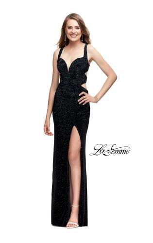 Picture of: Velvet Prom Dress Covered in Rhinestones with Side Cut Outs, Style: 25266, Detail Picture 2