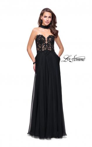 Picture of: Long Strapless Prom Dress with Pockets and Choker, Style: 25450, Detail Picture 2