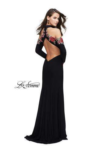 4dd4ac8f14dc ... Picture of: Form Fitting Jersey Prom Dress with Floral Applique, Style:  25807,