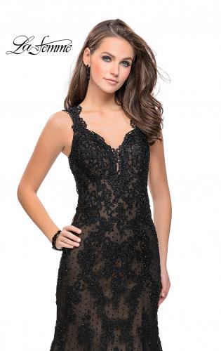Picture of: Long Polka Dot Tulle Dress with Lace and Beading, Style: 25961, Detail Picture 2