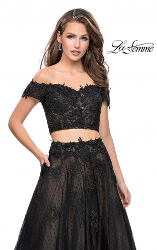 Picture of: Off the Shoulder Two Piece Gown with Polka Dot Print, Style: 26110, Detail Picture 2