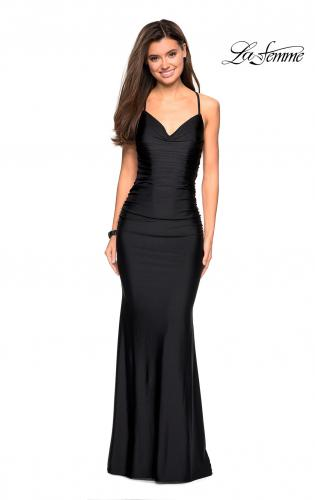 dde8298b42e ... Picture of  Form Fitting Jersey Dress with Ruching and Strappy Back